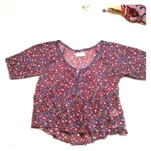Hollister burgundy and blue floral baby doll top.